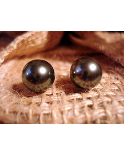 Boucles d'oreilles perles noires de Tahiti or jaune 750