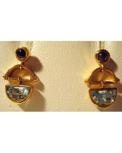 Boucles d'oreilles topazes bleus, saphirs or jaune 750