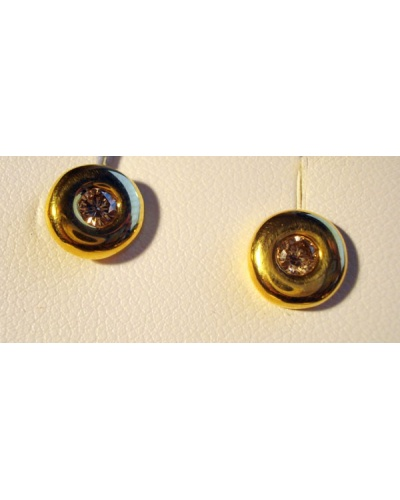 Boucles d'oreilles diamants or jaune 750 serti clos