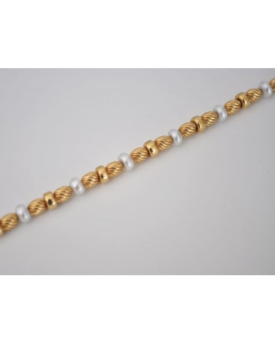 Bracelet perles de culture or jaune 750