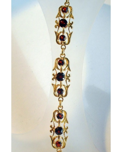 Bracelet grenats style ancien or jaune 750 MM