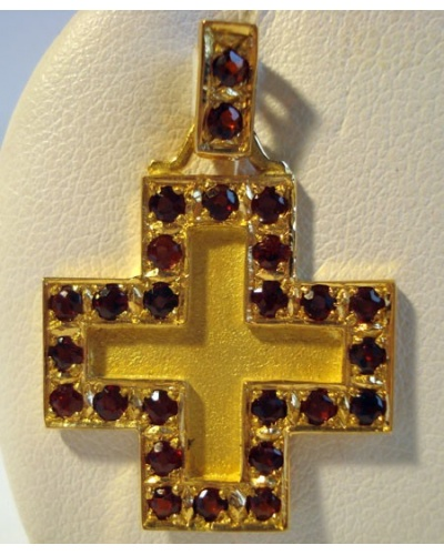 Croix carrée grenats or jaune 750