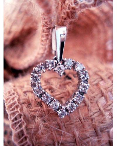 Pendentif cœur diamants or blanc 750