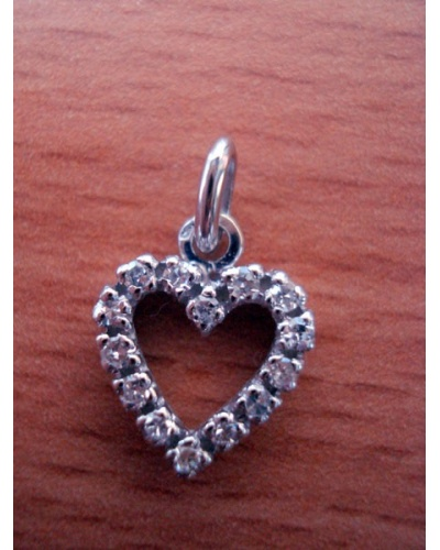Pendentif coeur diamants or blanc 750 PM