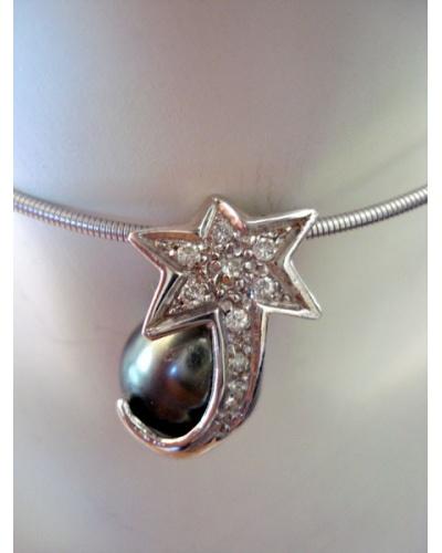 Pendentif Etoile perle de Tahiti diamants or blanc 750