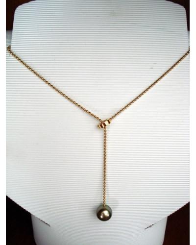 Collier perle de Tahiti boules or jaune 750