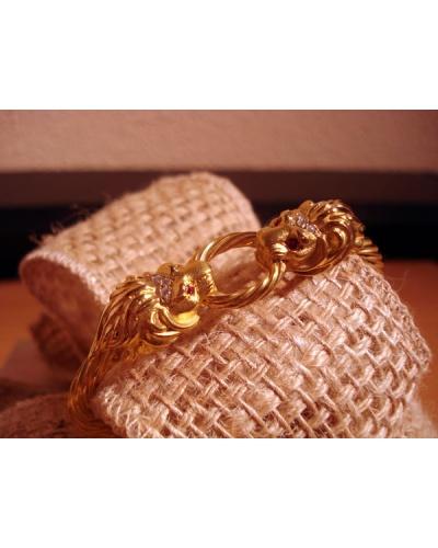 Bracelet jonc Lions diamants or jaune 750 Gay Frères