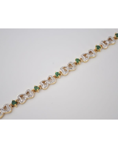 Bracelet émeraudes diamants or 750 bicolore