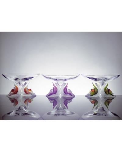 Coupe Orchidée verte pâte de verre Cristallerie Royale de Champagne
