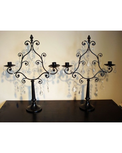 chandelier en metal noir 2 bras et pampilles. Black Bedroom Furniture Sets. Home Design Ideas