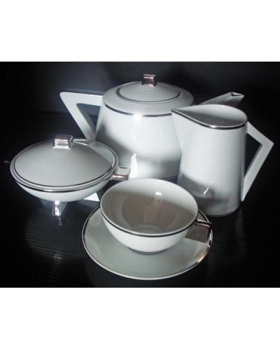 Service à thé 9 pièces Triangular filet platine Vista Alegre