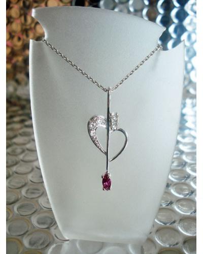 Pendentif vintage coeur zircon rose argent massif