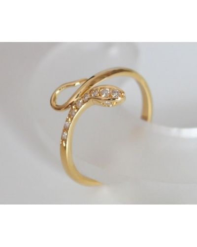 Bague fine serpent diamants or jaune 750