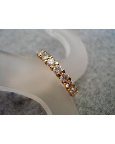 Demi-alliance mars diamants or jaune 750