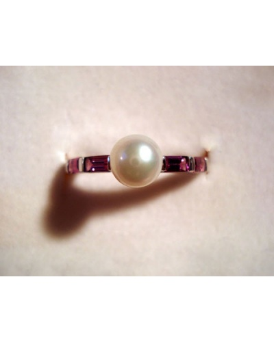Bague perle de culture rhodolites or blanc 750