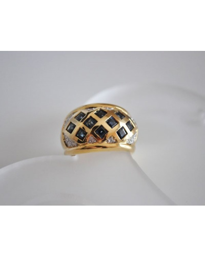 Bague jonc large saphirs carrés diamants or jaune 750