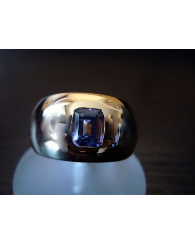 Bague jonc large tanzanite or jaune 750