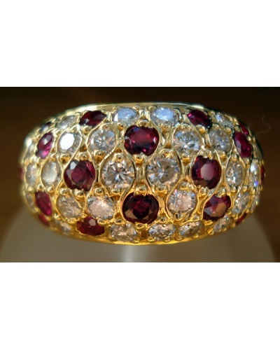 Bague pavé de rubis diamants or jaune 750