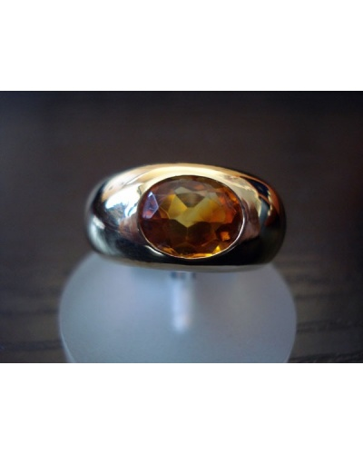 Bague large citrine or jaune 750
