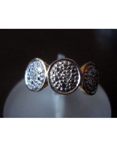 Bague 3 ronds diamants or 750 bicolore