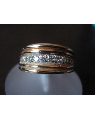 Bague jonc plat diamants 3 ors 750