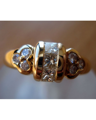 Bague Augis diamants princesse or jaune 750