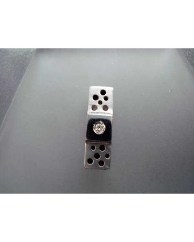 Pendentif Domino satin diamant or blanc 750