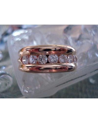Demi-alliance rail diamants gm or jaune 750