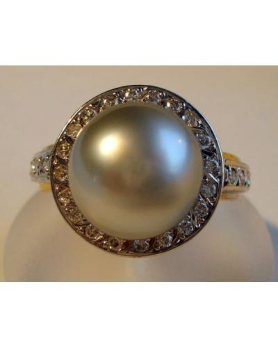Bague perle de Tahiti diamants 2 ors 750