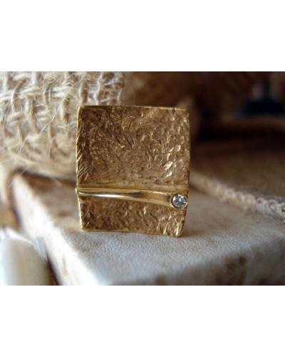Pendentif Carré diamant or jaune 750