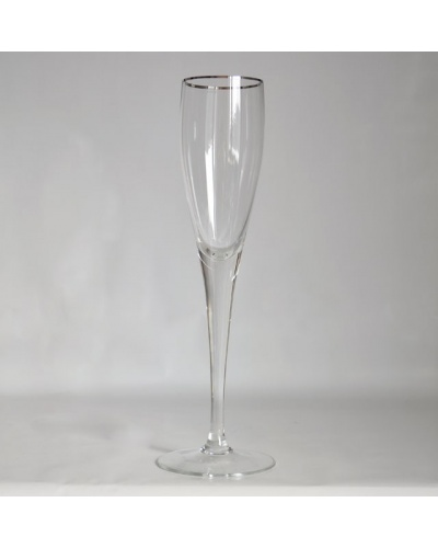 Boîte 6 grandes flûtes à champagne filet platine Cristal de Bohême
