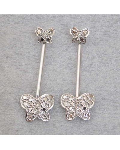 Boucles d'oreilles Papillons diamants or blanc 750