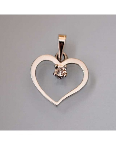 Pendentif coeur diamant pastillé or blanc 750