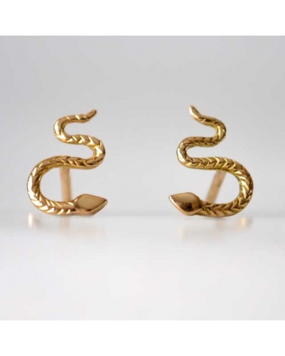Boucles d'oreilles serpent ciselé or jaune 750
