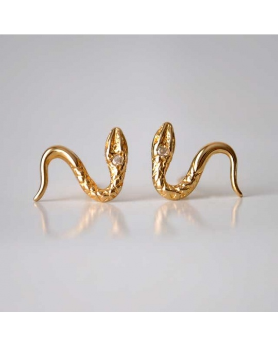boucles d 39 oreilles petit serpent diamant et or jaune 750. Black Bedroom Furniture Sets. Home Design Ideas