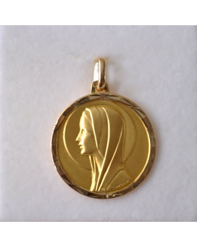 Médaille vierge or jaune 750 creuse 18 mm