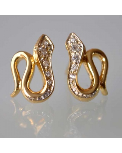 Boucles d'oreilles serpent zirconium or jaune 750