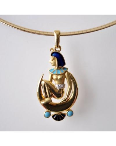 Pendentif égyptien émaux diamants or 750