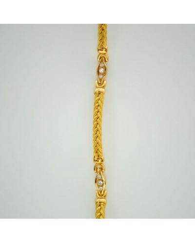 Bracelet diamants or jaune 750 tressé