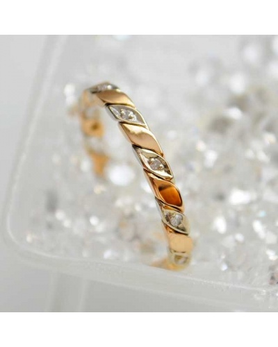 Alliance diamants torsade tour complet 2 ors 750 rose blanc