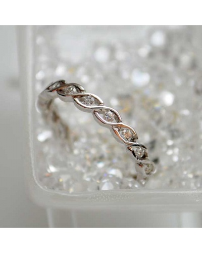Alliance diamants torsade tour complet or blanc 750