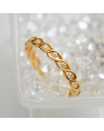 Alliance diamants torsade tour complet or jaune 750
