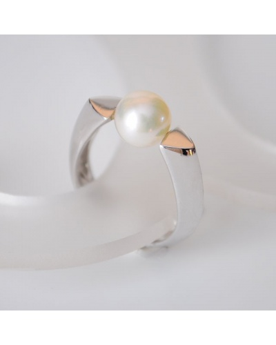 Bague perle de culture or blanc 750
