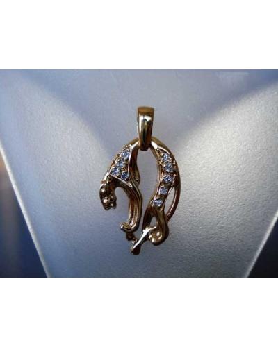 Pendentif panthère diamants or jaune 750