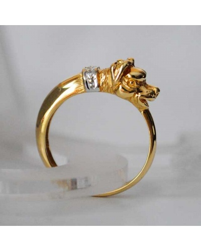 Bague chien diamants or jaune 750