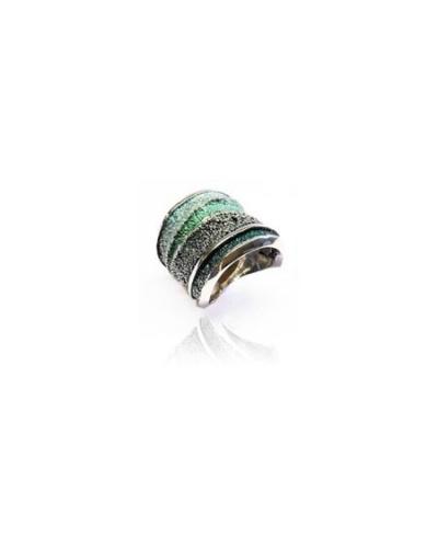 Bague Sinera pigments verts argent Arior