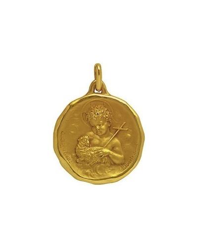 Médaille Saint Jean-Baptiste 15 mm or jaune 750 Augis