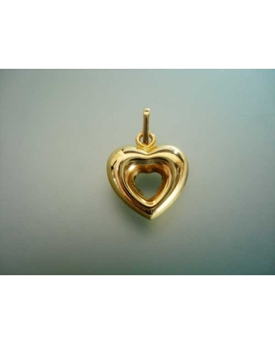 Pendentif coeur ouvert or jaune 750