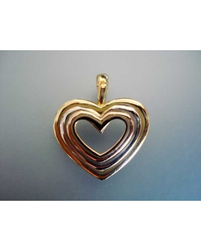 Pendentif coeur ouvert 3 ors 750 massif