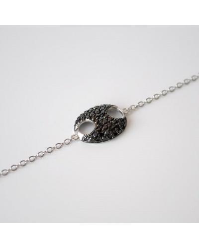 Bracelet grain de café zircons noirs argent massif 925